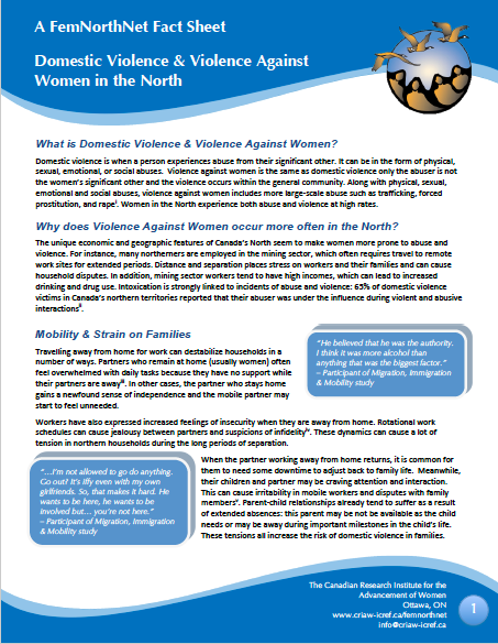 Thumbnail image of front page of fact sheet about violence against women in the North.