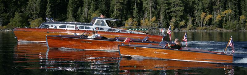 wooden boats on Lake Tahoe