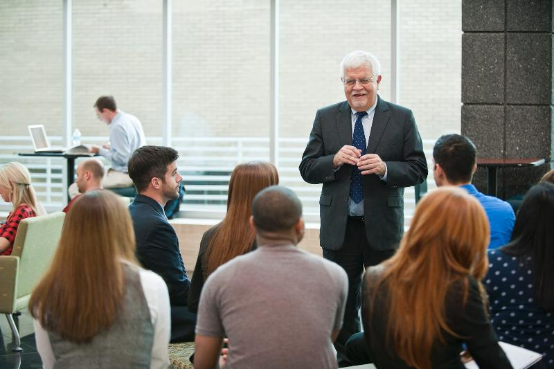 Dean Forsythe with Students