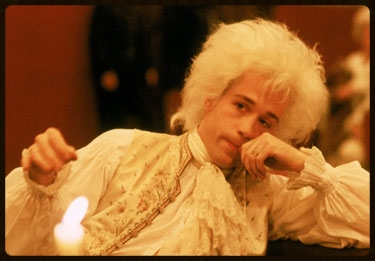 Tom Hulce plays Wolfgang Mozart in the movie Amadeus