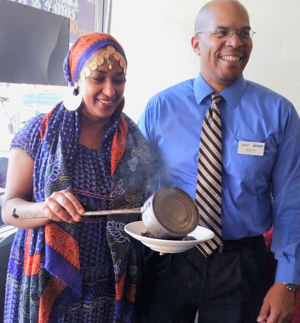 Aisha Tedros demonstrates a traditional Ethiopian coffee ritual