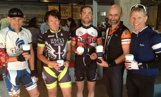 Bikers ride across town for coffee