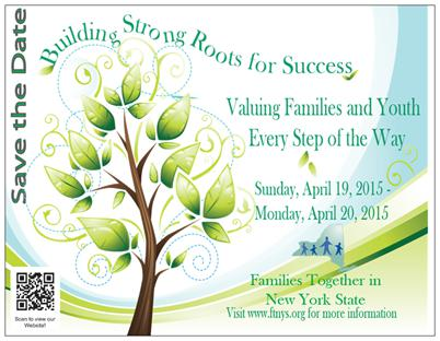 save the date postcard with a tree, crucial information and the FTNYS logo