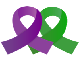 purple and green awareness ribbons