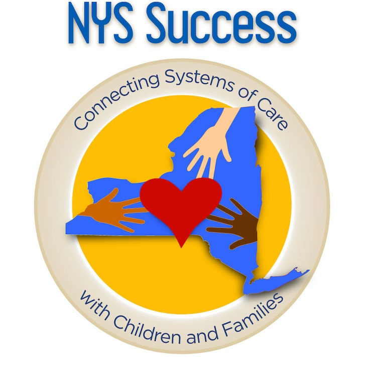 New York State Success Logo of NYS with three hands and a heart shape