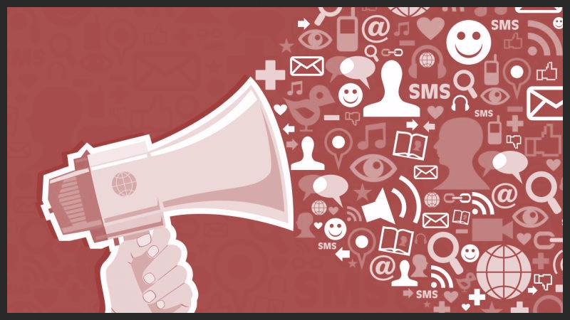 Photo of megaphone with different social media symbols coming out