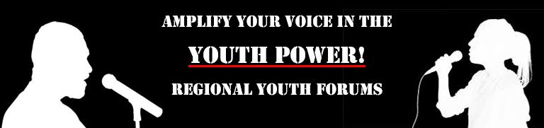 Amplify your voice in the YOUTH POWER_ Regional Youth Forums. _Silhouettes of a young man and woman with microphones_