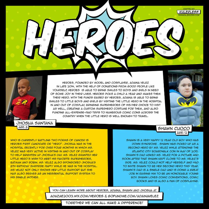 Heroes by Adaina Velez graphic with two young people cosplaying