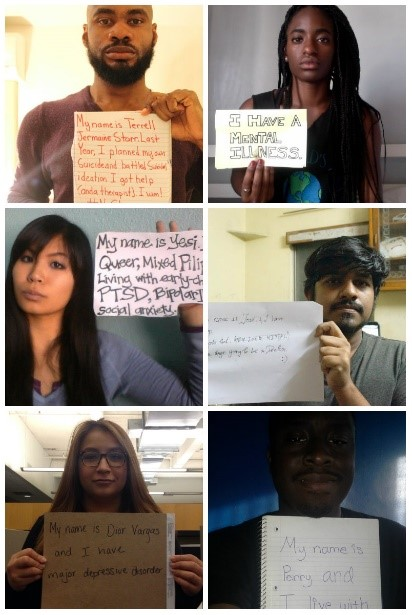 Photo collage of people of color holding signs about mental illness and their experience