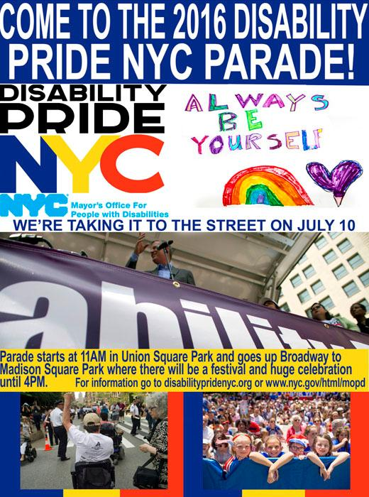 2016 Disability Pride Parade Poster
