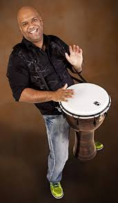 Mike Veny using a drum