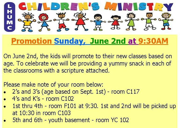 Promotion Sunday ~ June 2nd