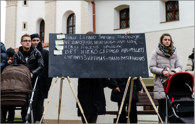 Protest calling on politicians to solve the problem of sexuality education in Lithuania