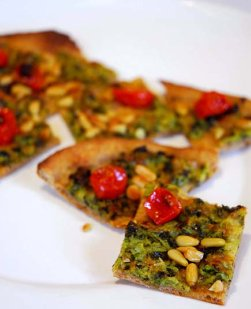 Zucchini and tomato flatbread