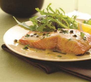 Alaska Salmon with Champagne Caper Vinaigrette