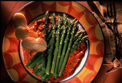 Asparagus Tapas with Red Pepper Sauce - California Asparagus Commission