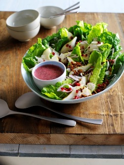Big Salad with Caramelized Pumpkinseeds, Pears, and Pomegranate