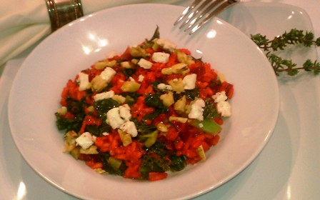Beet Risotto with Goat Cheese and Greens - Polito