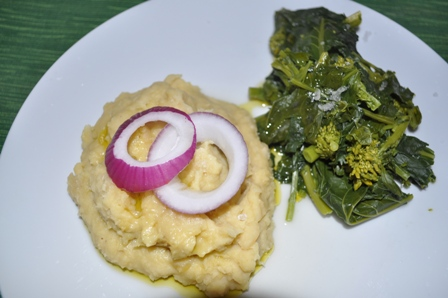 Dried Fava Beans with Broccoli Rabe