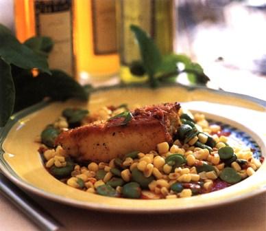 Halibut and corn salad