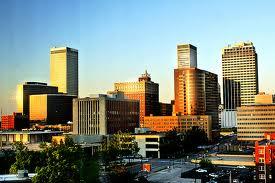 Tulsa skyline at sunset