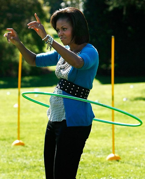 Michelle Obama hula hooping on the South Lawn of the White House