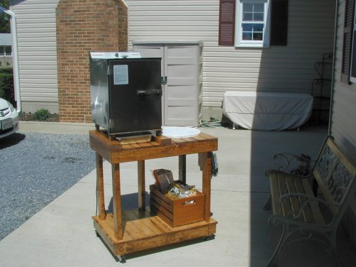 wood smoker stand
