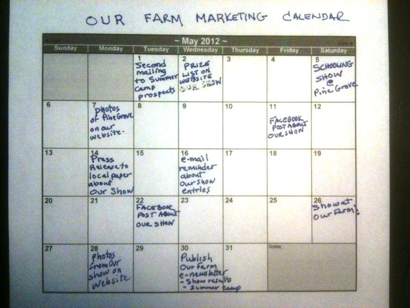Our Farm Market Calendar