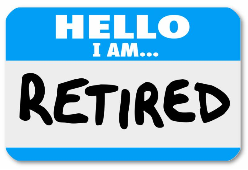 A blue nametag sticker with the words Hello I Am Retired to illustrate that you are done with your career and are living off a pension or 401k or other retirement savings