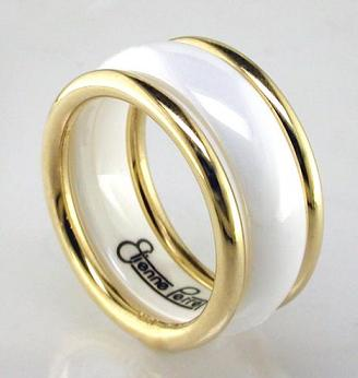 gold ribbed white  ring