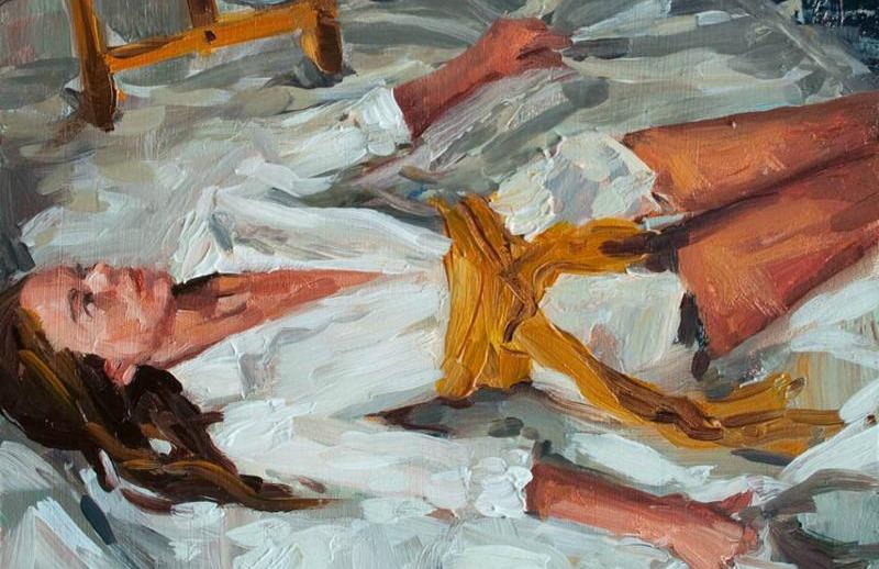 Sara Pedigo, Amy Needs to Unclench, 2012, Oil on panel