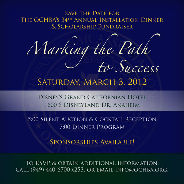Save the Date for the OCHBA's 34th Annual Installation Dinner & Scholarship Fundraiser
