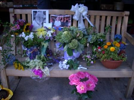 ward's bench with flowers