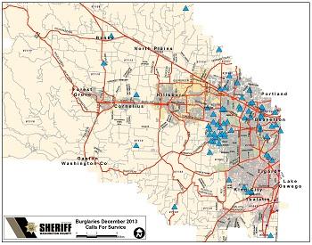 Burglaries in unincorporated Washington County, December 2013