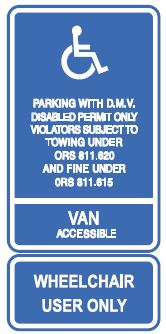 Wheelchair only, van accessible, disabled parking sign