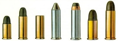 rrow of different caliber bullets standing on end
