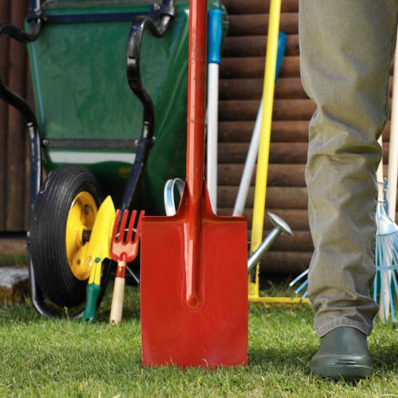 wheelbarrow, shovel