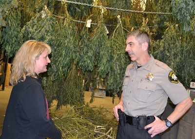 Evidence Officer Marsden and Sheriff Garrett in the marijuana drying room.
