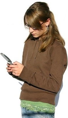 teen on phone clip art