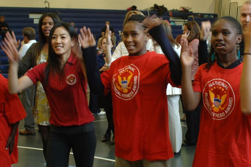 Michelle Kwan interacts with students at the Active Gaming PALA+ Challenge Showcase
