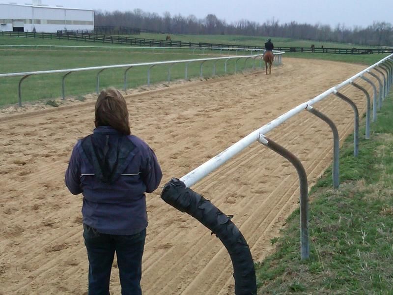 Mary watches Rita on track