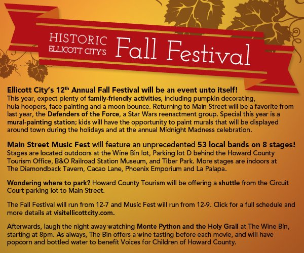This year The Fall Festival features Music Fest, and Historic Ellicott City will host an unprecedented 53 bands!