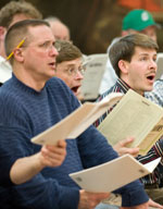 Men of the Chorale in rehearsal