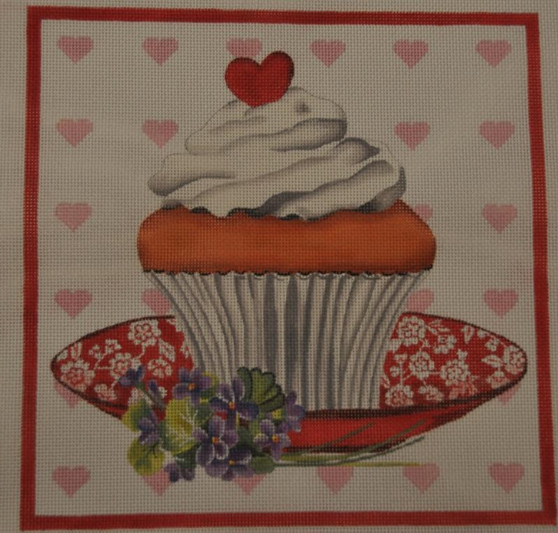 heart cupcake needlepoint canvas