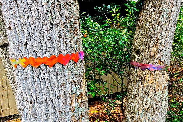 Paper Heart Garland Tree Bombing