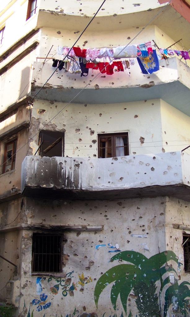 War eroded building.