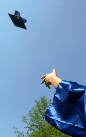 Mortar board being thrown