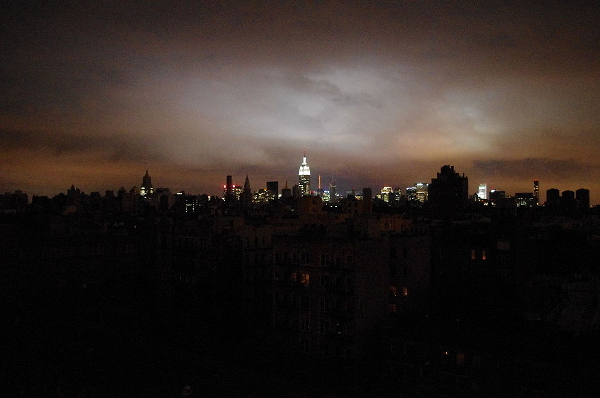 NYC skyline blacked out.