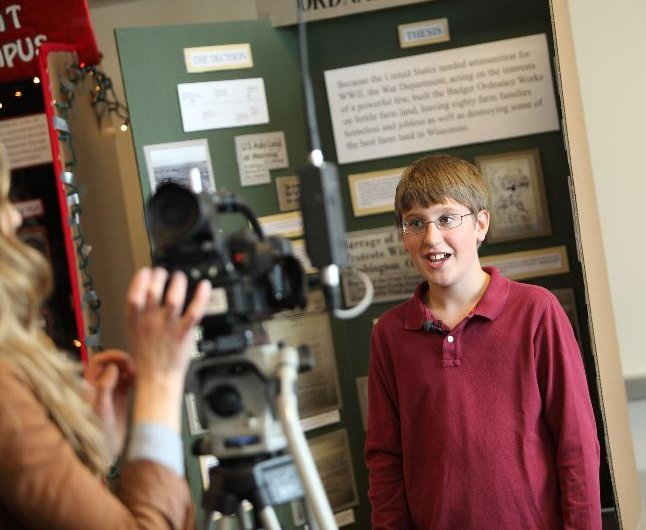 Student news interview at state event