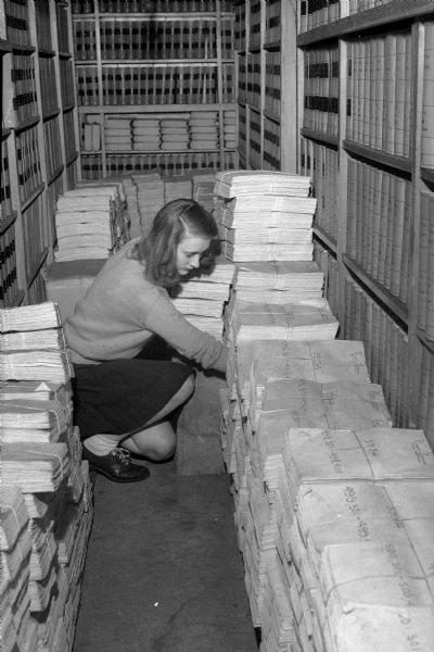 Student in Wisconsin Historical Society Stacks